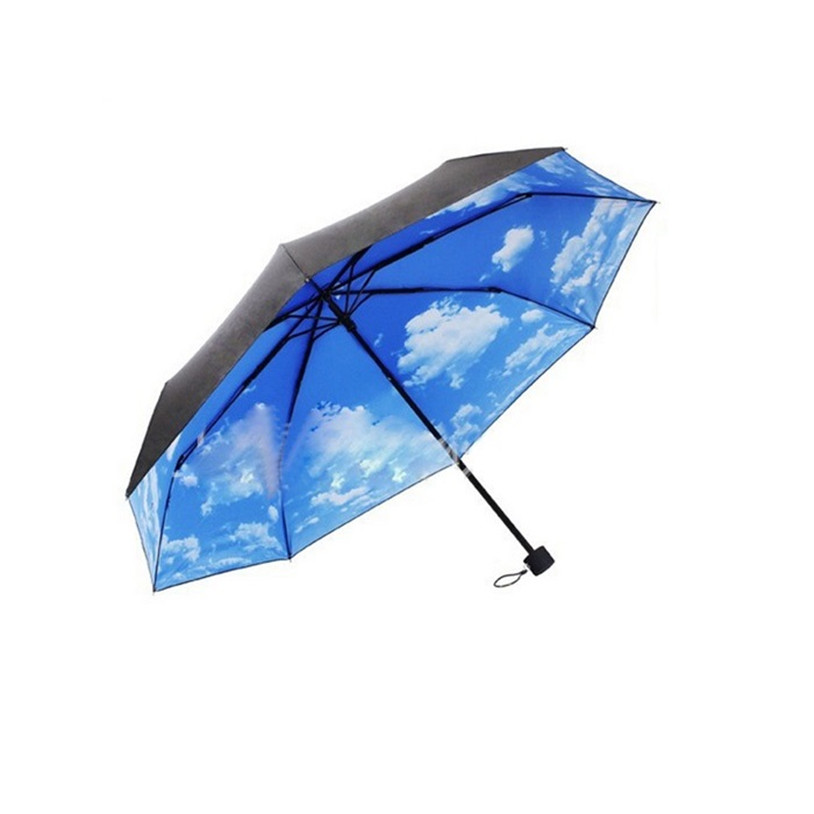 New Super Anti-uv Sun Protection Umbrella Blue Sky 3 Folding Gift Parasols Rain Umbrellas For Women Men Free Shipping 1pack(China (Mainland))