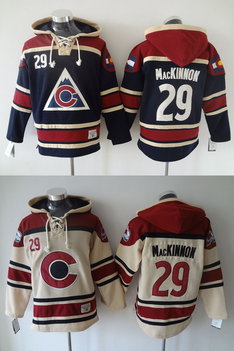 Christmas Clearance Sale! Nathan MacKinnon Jersey #29 Colorado Avalanche Jerseys Old Time Hockey Hoodie Men's Double stiched Hoo