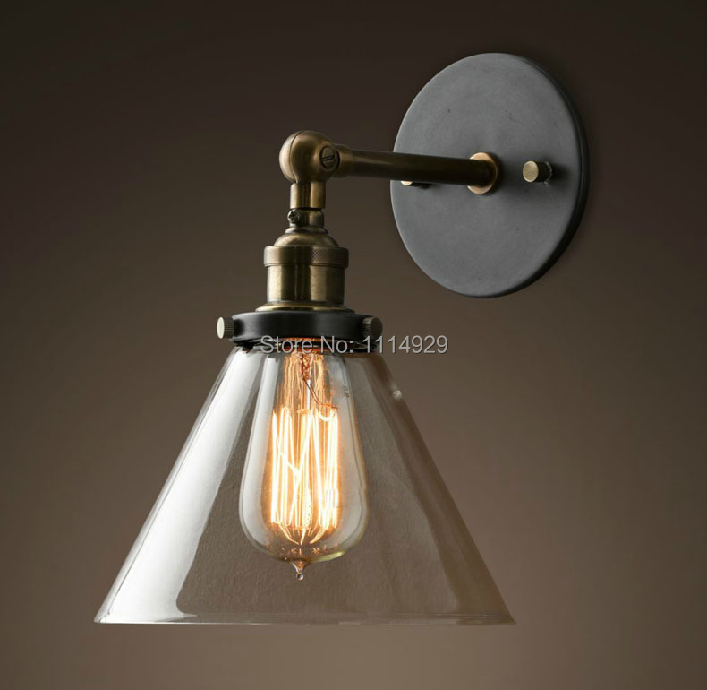 Loft Industrial Wall Lamps Vintage Bedside Wall Light Clear Glass Lampshade E27 Edison Bulbs ...