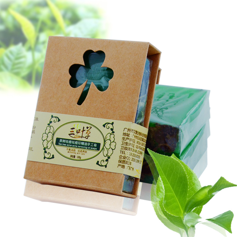 100g Natural Tea Tree Essential Oil Handmade Soap acne treatment whitening soap Dispelling Wrinkles Bath Soap Cold Process Soap(China (Mainland))