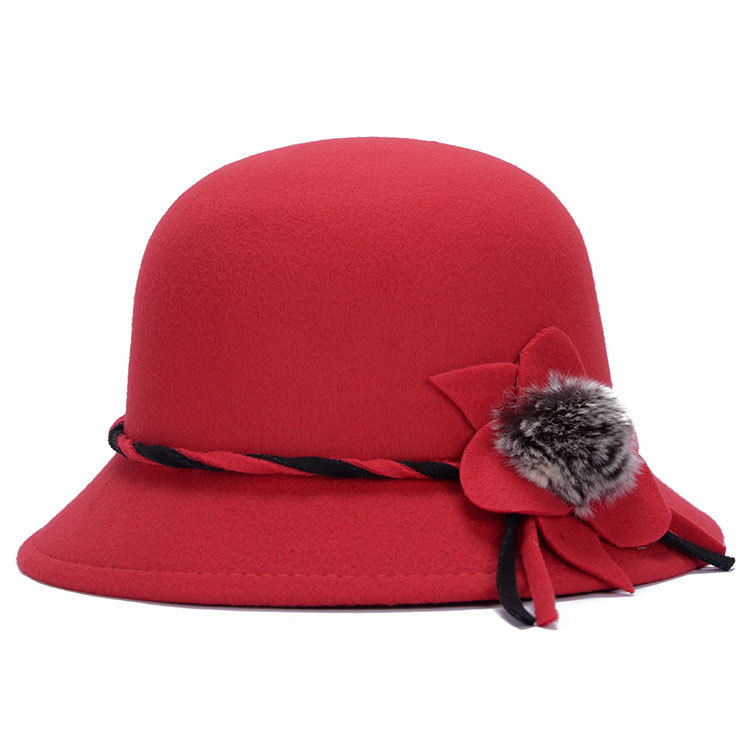 New Sale Flower Hat Warm Wool Felt Hat ,Big Flower Rabbit Ball Design Bowler Hats Red Fedora Hat For Women ,Sombreros ZK-AHJ127(China (Mainland))