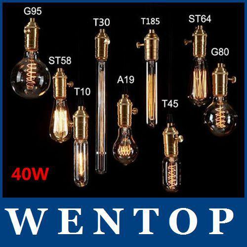 Antique Retro Vintage 40W 220V Edison Light Bulb E27 Incandescent Bulbs ST64 A19 G80 G125Squirrel-cage Filament Lamp - ShenZhen WENTOP Technology Co., Ltd. store