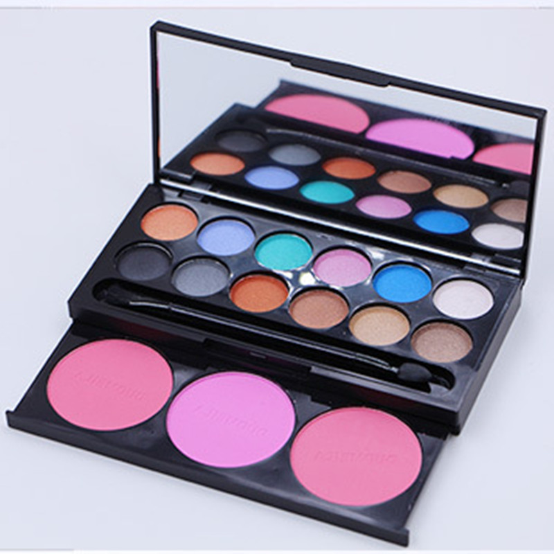 12 Color Eye Shadow +3 Color Blusher Box Exquisite Cosmetic Long Lasting Natural Eye Shadow Beauty Makeup Products(China (Mainland))