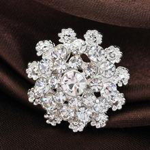 Free shipping Fashion Bridal Bouquet Jewelry Flower Brooch Pin Silver Rhinestone Crystal Brooches For Women Wedding(China (Mainland))