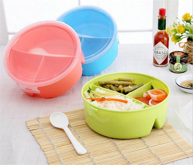 Портативный Круглый Микроволновая Печь Lunch Box Bento Пикник Пищевых Контейнеров Хранения + Ложка
