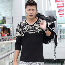 2015 New Brand Chinese Style Print Mens T Shirts Fashion Winter Long Sleeve Casual Cotton Male Tees Tops 4 Colors 3XL