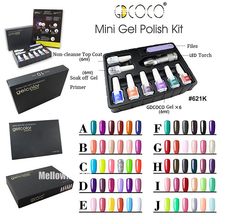 GDCOCO NEW color gel polish Mini sets kit + top base coat LED light torch file 1Box - timtimng store