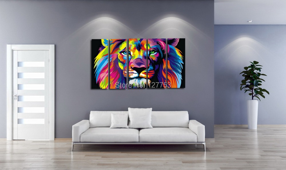 Original Animal Oil painting 5 Piece pictures Art print canvas wall decoration Home art color Lion king - Rainbow Gallery store