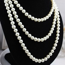 Vintage Necklace 2014 New Design White Freshwater Pearl Long Necklace150cm can Optional collocation