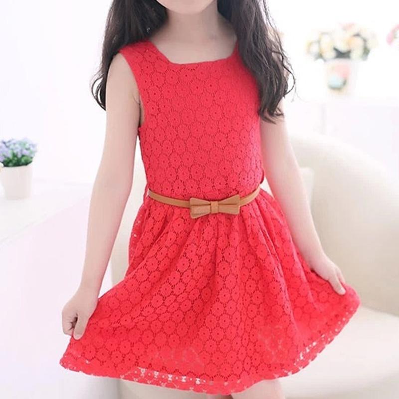 2016 girls summer dress new fashion children vest dress sent belt original girl cotton lace dress(China (Mainland))