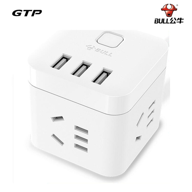 Original Bull Mini Smart Cubic USB Outlet US Plug with 1.5m Cable for Cellphone Travelling Extended Socket Wall Charger Adapter(China (Mainland))