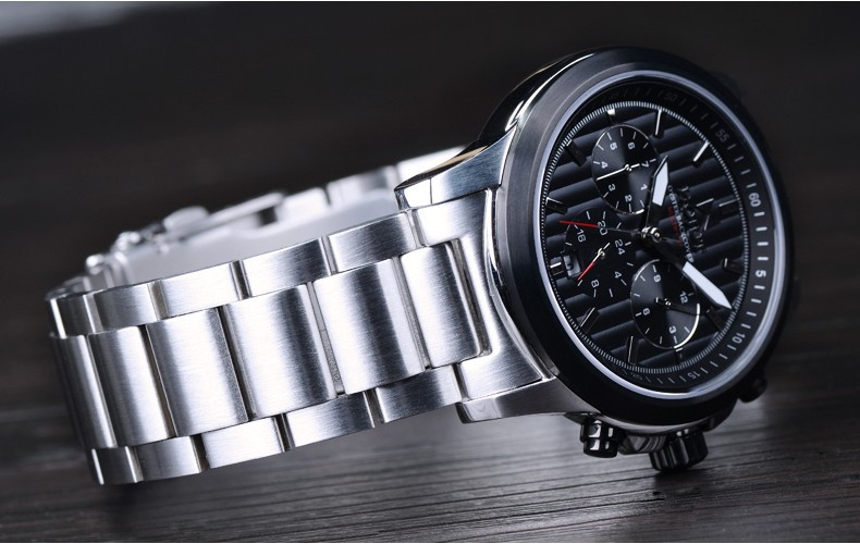 HOJUT T67 mens triple windows 6 hands waterproof 50 multi functions steel antomatic mechanical watch