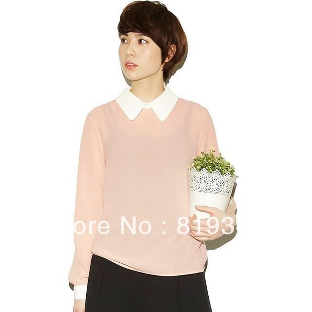 VANCL Lauryn Double-Collar Blouse Tan-Beige Long Sleeve Shirt Turn-down Collar Blouse Chiffon T-shirt Free Shipping