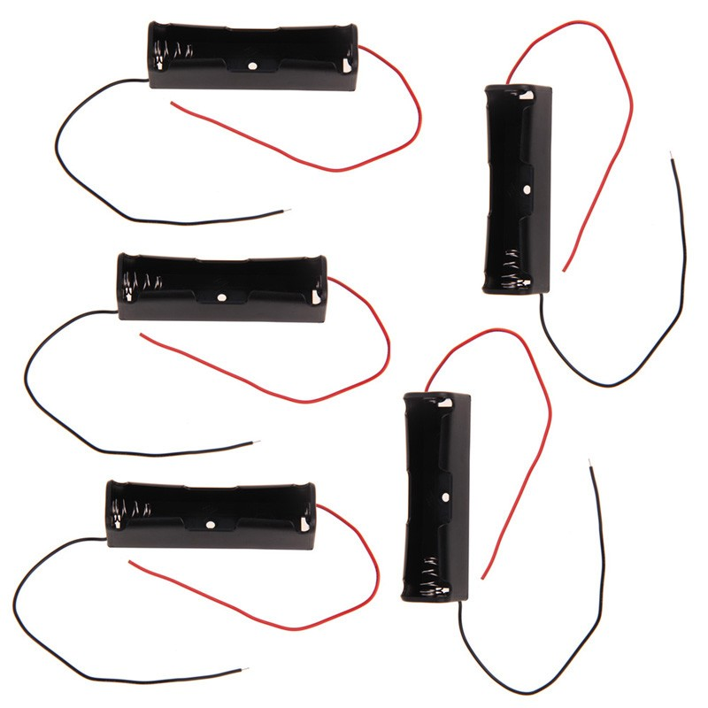 image for 5 Pcs New 18650 Battery 3.7V Clip Holder Box Case Black With Wire Lead