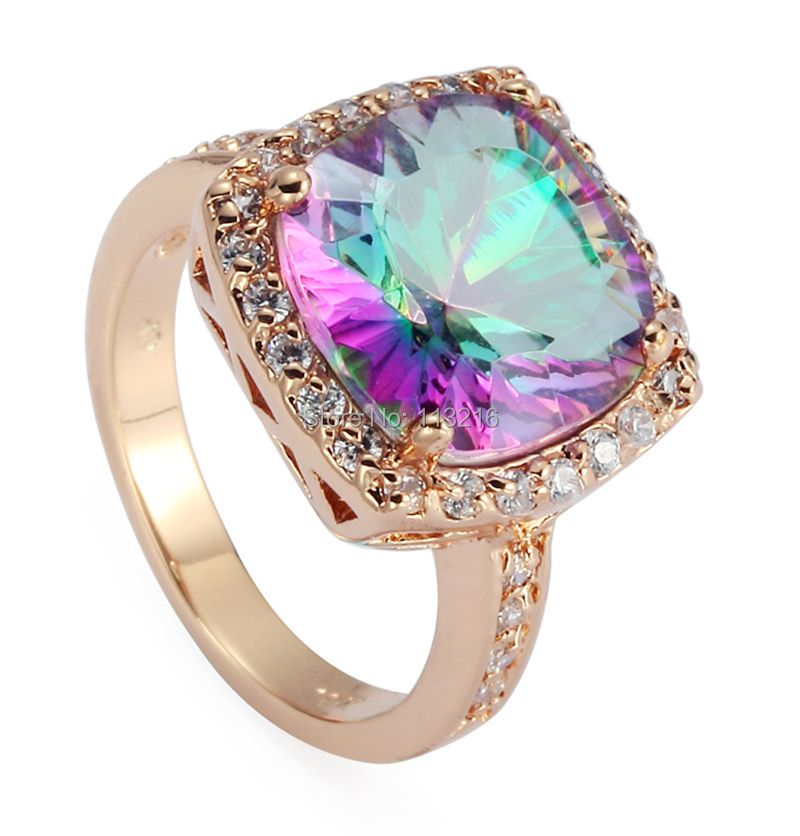 Fashion Rainbow Mystic stone white Cubic Zirconia Casual 18KGP Rose Gold Plated Jewelry RING R488 sz#6 7 8 9 - shunxunze Watch & store