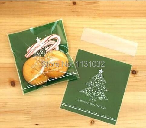 Free Shipping 10*11+3CM Green Color Christmas Tree Design Christmas Candy Bag, Jewelry Bag, Christmas Gift Bags(China (Mainland))