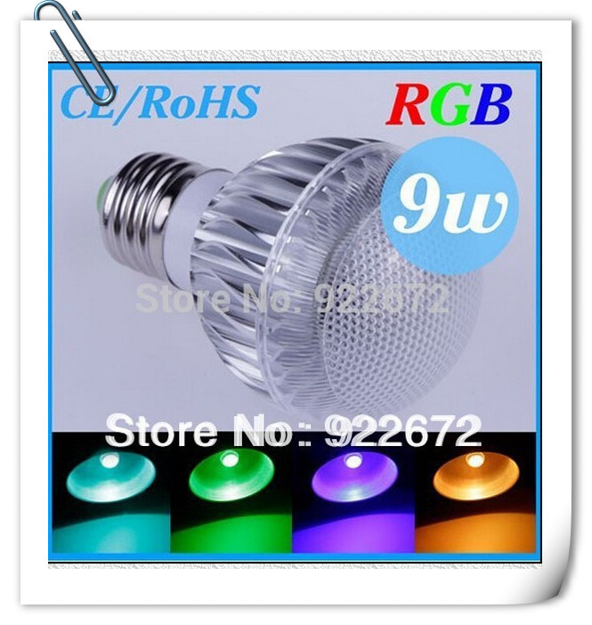1PCS-E14 E27 RGB LED Lamp 9W 15W AC85-265V led Bulb Lamp with Remote Control multiple colour led lighting free shipping(China (Mainland))