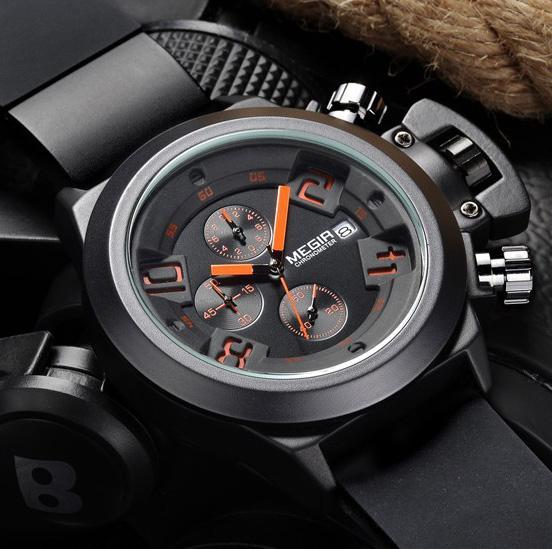 2016 Original MEGIR CHRONOGRAPH 24 Hours Function Men's Sport Watch Silicone Wrist Watch Army Military Watch Montre Homme Reloj(China (Mainland))