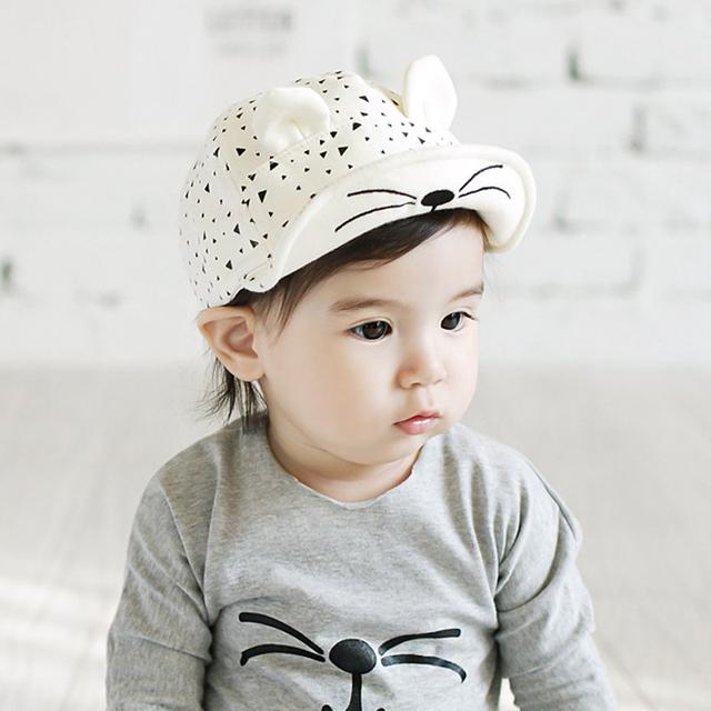 2016 мода новый прекрасный кот детские дети малыш мальчик в девочке шлема хлопка солнце мило уши Cap