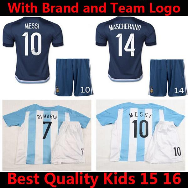Soccer Jersey Argentina Kids 15 16 MESSI Children Set DI MARIA 2015 Argentina Kids Kit KUN AGUERO Youth Uniforms 15/16 Home Blue(China (Mainland))