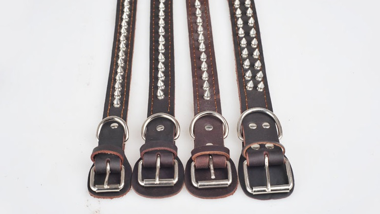 High Quality Adjustable Leather Dog Collars Breathable Spiked Pet Collar Products for Big Dogs(China (Mainland))