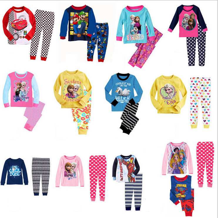 Гаджет  2-7Years 2015 Cotton pijamas Elsa Anna olaf sofia Pyjamas Kids Clothes baby boy T + pants Clothing set pajamas ensemble fille None Детские товары