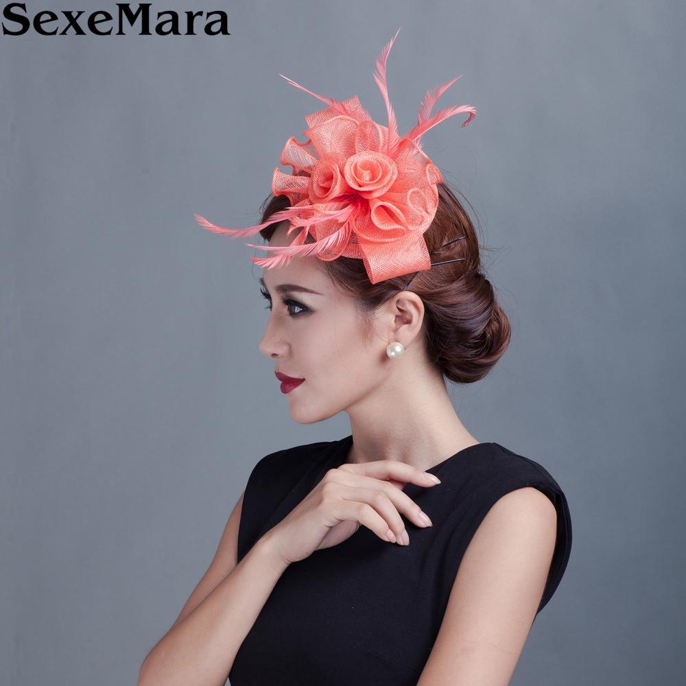 Sinamay fascinator feathers headwear for Kentucky derby wedding Patty(China (Mainland))