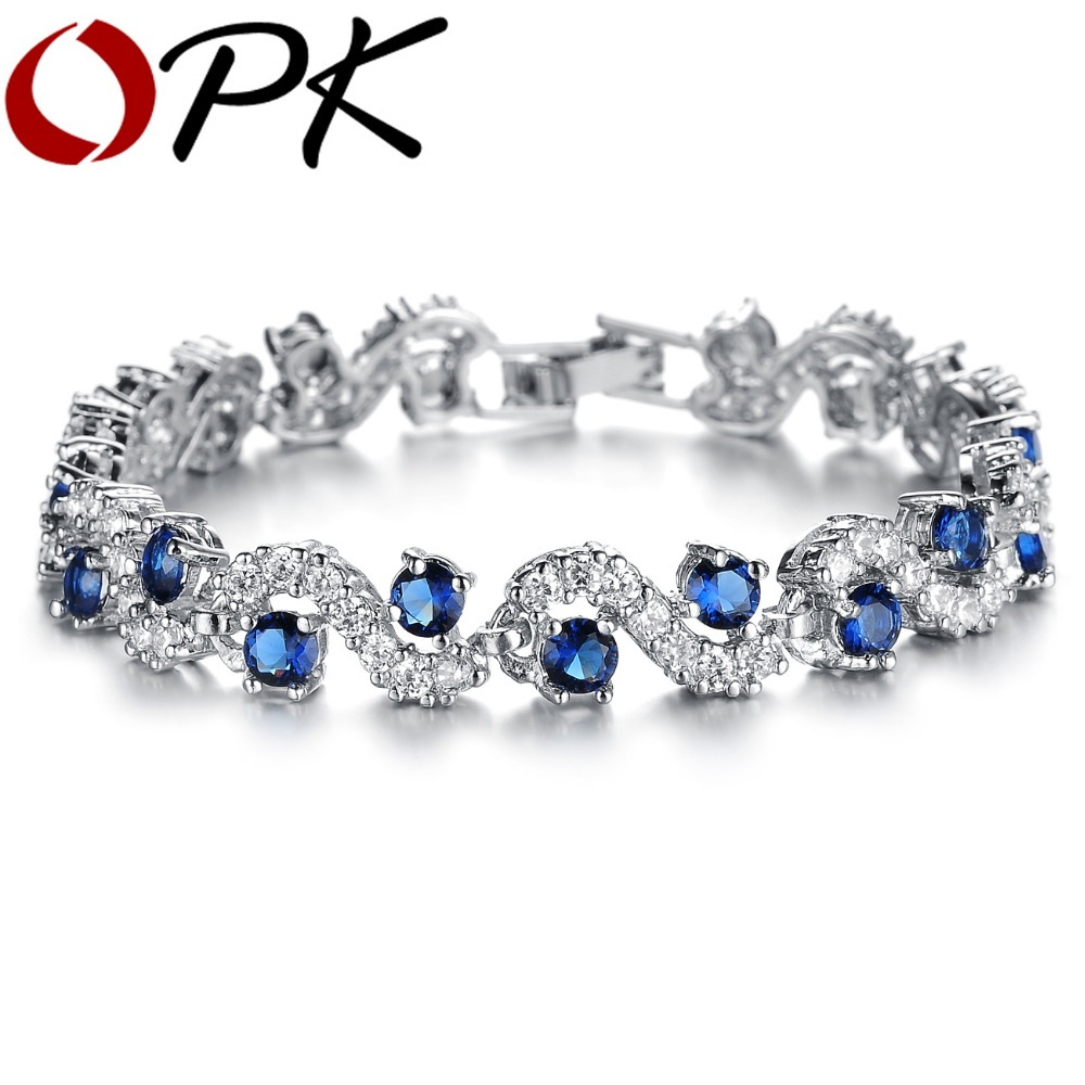 OPK JEWELRY Fashion EU Style Platinum Plated Blue Crystal Stone Bracelets & Bangles Luxury Romantic Wedding Jewelry Gift - store