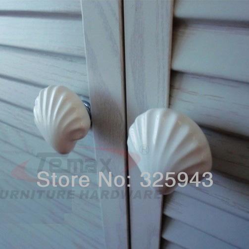 Ordinaire 2pcs/lot Cartoon Ceramic Kitchen Cabinet Knobs White Seashell Kids  Furniture Bedroom Dresser Drawer Pulls