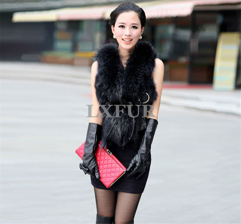 Casual Womens Real Raccoon Fur &amp; Sheep Leather Vests Gilets Fashion Spring Waistcoats Sleeveless Outwear Adjustable Belt LX00397Одежда и ак�е��уары<br><br><br>Aliexpress
