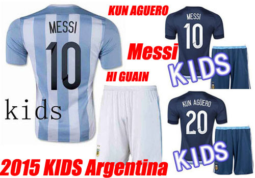 Best Quality 2015 Kids Argentina MESSI Soccer Jerseys Uniforms Set 15 16 Boys Argentina Children Shirts 2016 Camisas Youth Kits(China (Mainland))