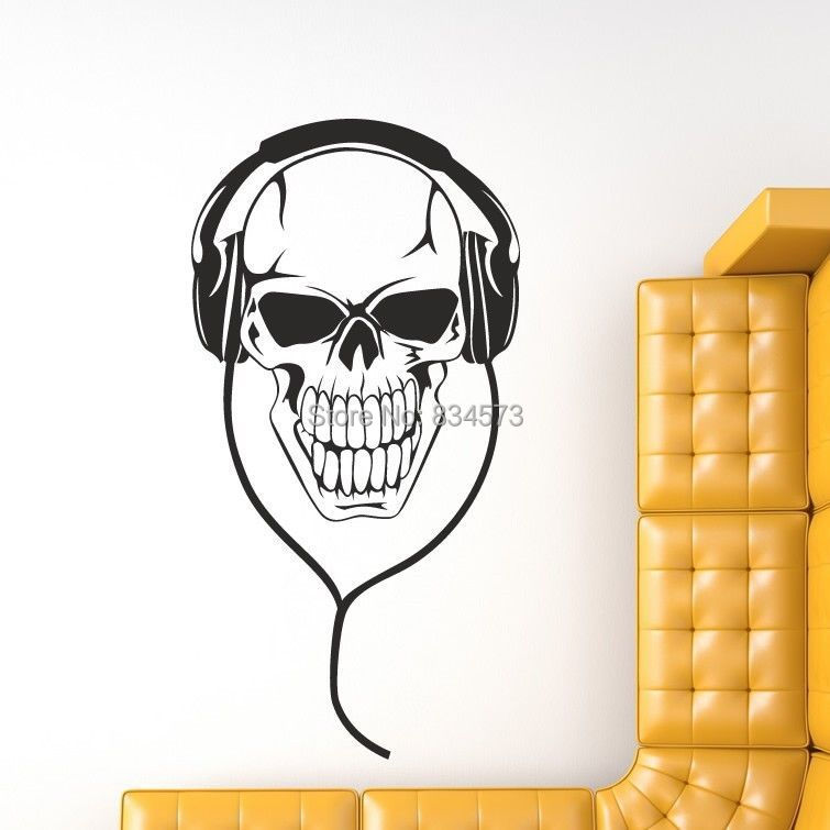 Hot Skeleton Headphones Music Skull Wall Art Sticker Decal DIY Home Decoration Decor Wall Mural Removable