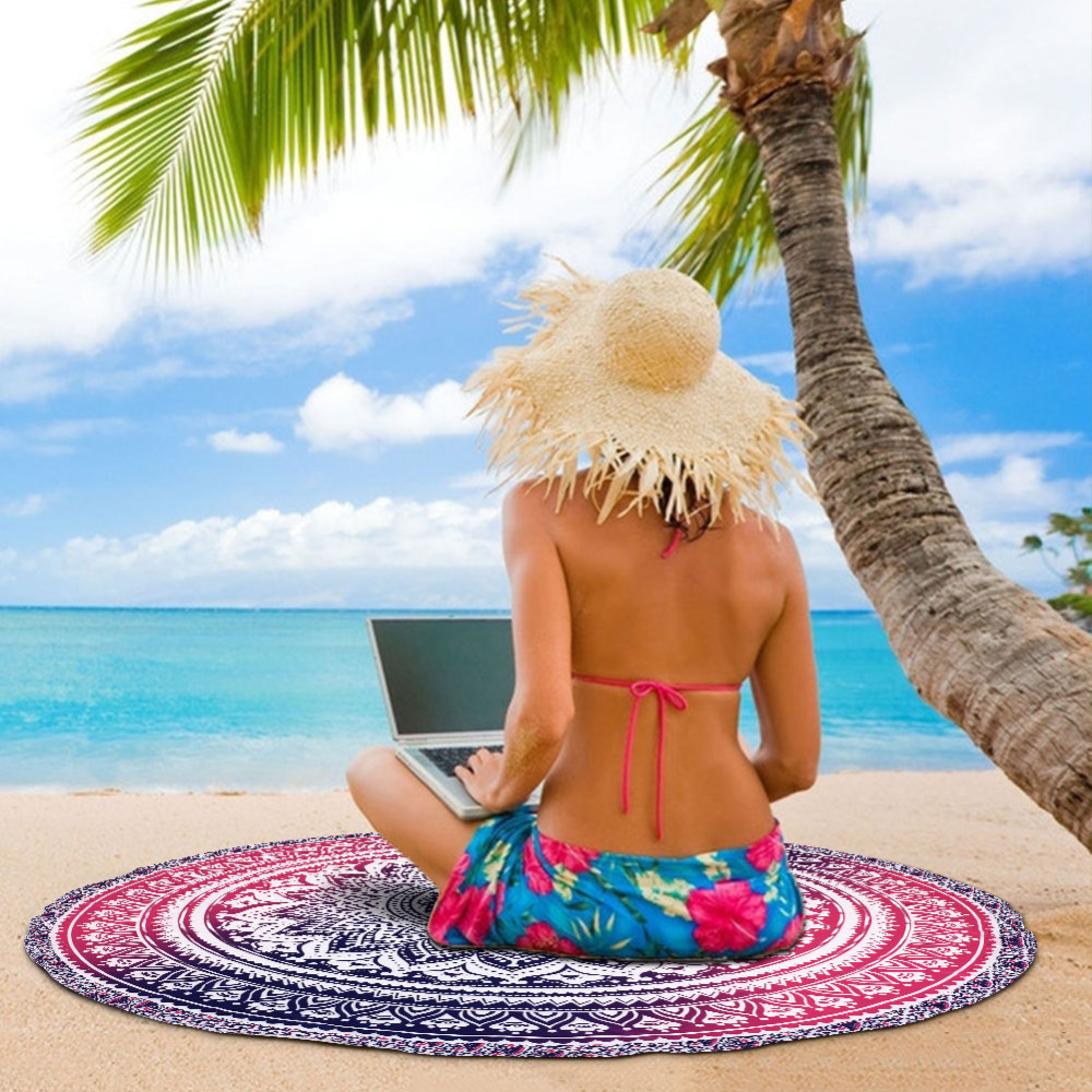 Indian Mandala Tapestry Hippie Printed Wall Hanging Rectangle Boho Bohemian Beach Towel Yoga Mat Home Decor Diameter 148cm