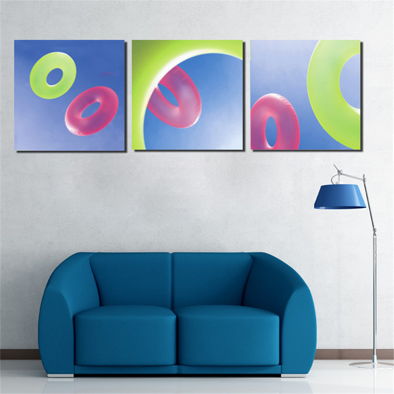 3 Panels Swimming circle pattern Oil Painting Home Decor Wall Pictures For Room Art Picture Paint On Canvas Prints Wall Painting(China (Mainland))