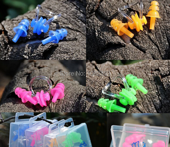 summer swim tools and accesory silicone swim earplugs and nose clip swimming protection tools pool accessory baby swim earplug(China (Mainland))