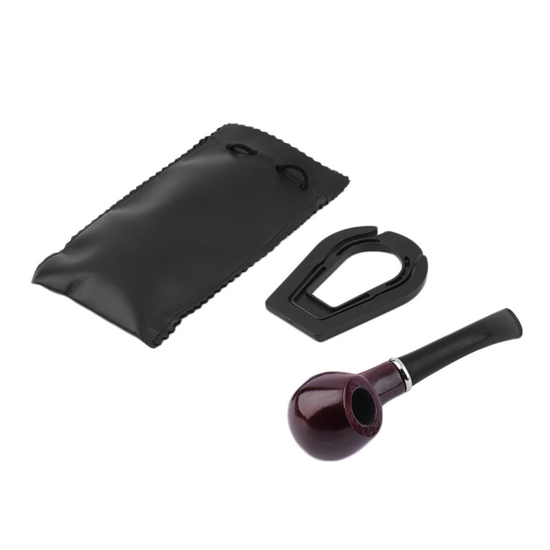 New 1x Durable Wooden Tobacco Pipe + Smoking Pipe Stand + Cigar Cigarette Smoking Pipe Leather Case cover(China (Mainland))