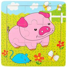 Funny Pig Puzzle Educational Developmental Children Baby Wooden Toy Gift