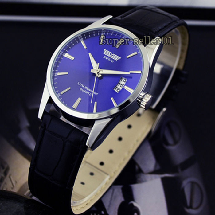 Fashion Leather Strap Band Date Analog Quartz Sport A125 men women wrist watch Hot