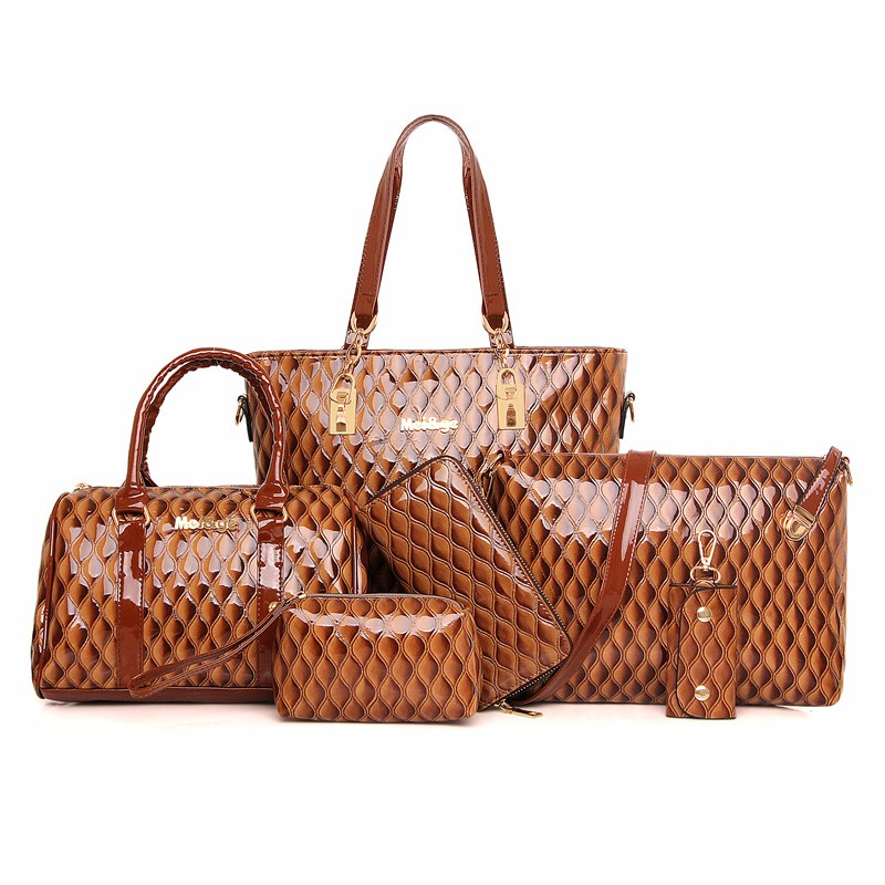 European and American Composite Bag Classic Ladies Embossing Handbags 6 Sets Shoulder Women Messenger High Quality Leather N224