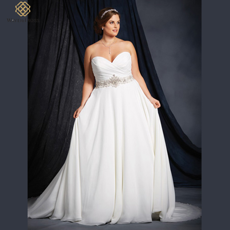 Aliexpresscom buy gorgeous sweetheart a line beaded for Plus size beaded wedding dresses