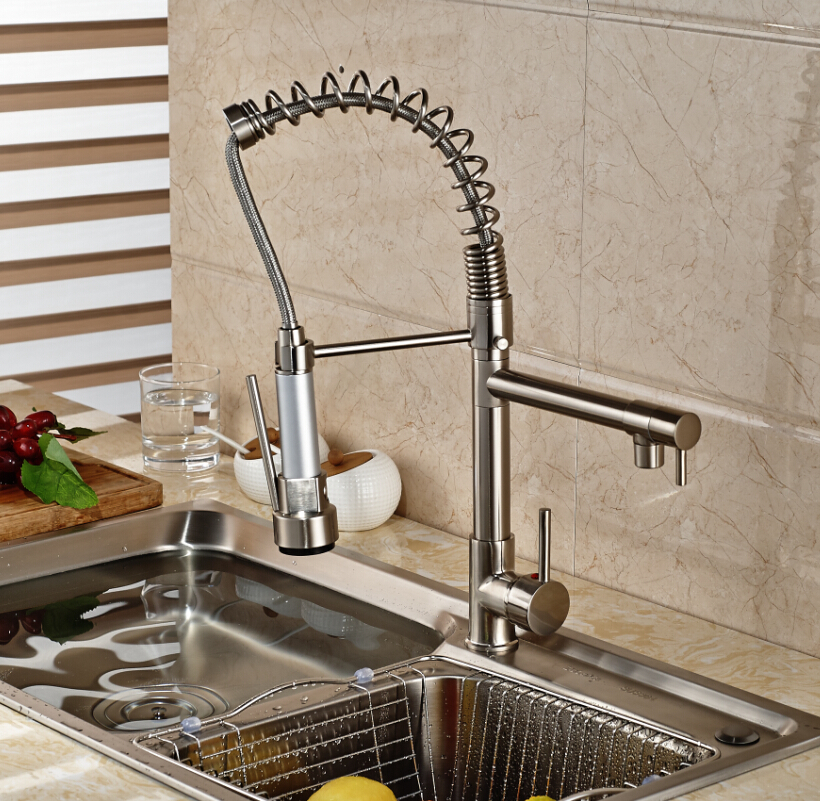 Brushed Nickel Spring Kitchen Sink Faucet Double Spray Single Handle Mixer Taps Deck Mounted(China (Mainland))