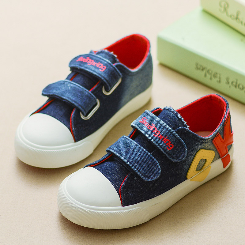 Girl Boys Canvas Shoes 2016 Autumn Fashion Kids Casual Shoe Hook & Loop Breathable Children Canvas Sneakers(China (Mainland))