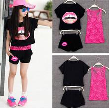 Retail 2015 Girls Summer Clothing Set Kids Girls European Girls 3 Pieces Sets Lace Tank Top & T-shirt & Shorts Summer Style