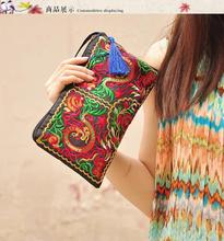 2015 New Women Ethnic National Retro Butterfly Flower Bag Handbag Coin Purse Embroidered Bag Lady Handbag