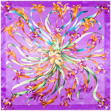Buy Women's 90 * 90 cm high imitation silk scarf silk scarf shawl hijab towel large square silk flower simulation for $3.39 in AliExpress store