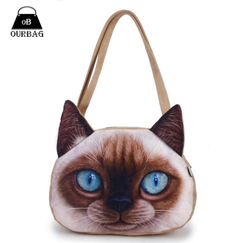 Гаджет  3D Frosted Women Cute Cat Printing Handbags Shoulder Zipper Polyester Student Handbag Girls Animals Bag Bookbag Casual Tote Hot None Камера и Сумки