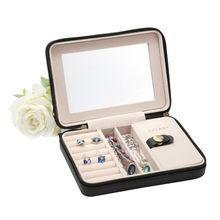 Lelady 17*4*12cm pequena caixa de jóias portátil organizador de viagem caixa de jóias com espelho de couro caso de armazenamento de jóias caixa de jóias(China)
