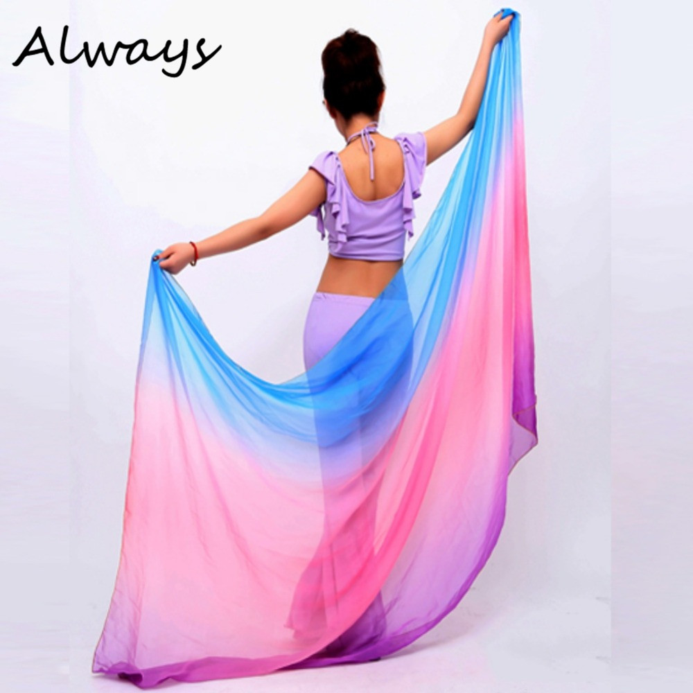 Pretty Belly Dancing Veil Gradient Colorful Imitation Silk Soft Shawl Veil 6 colors VU292