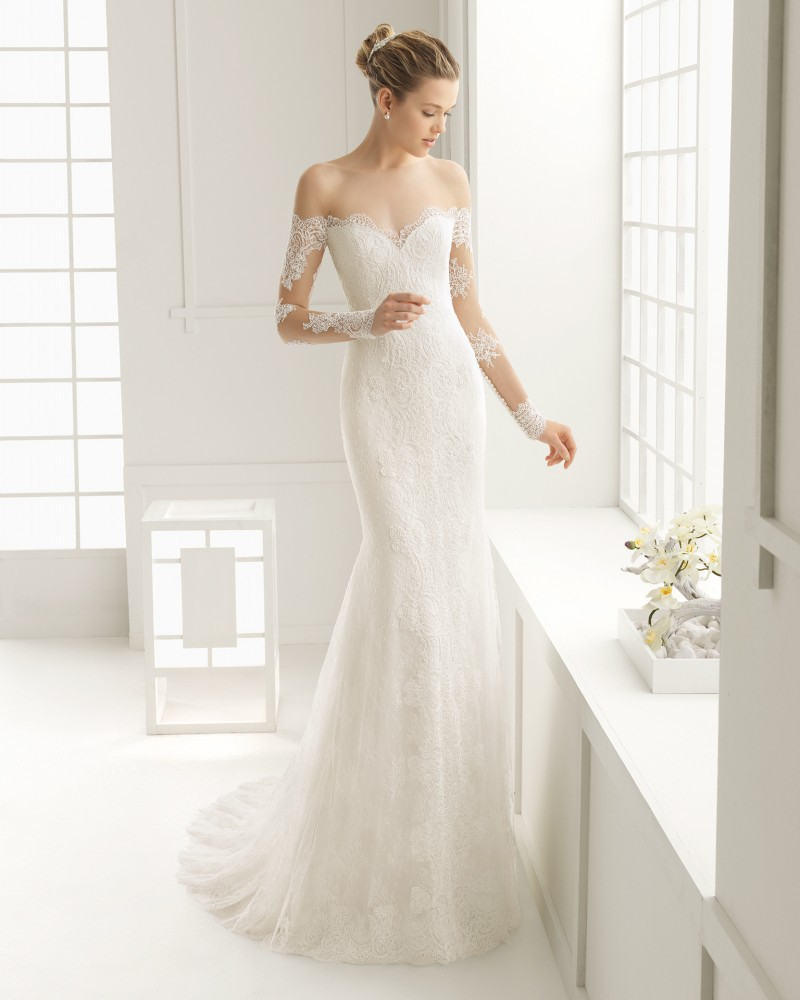 sleeve wedding dresses illusion off the shoulder mermaid style