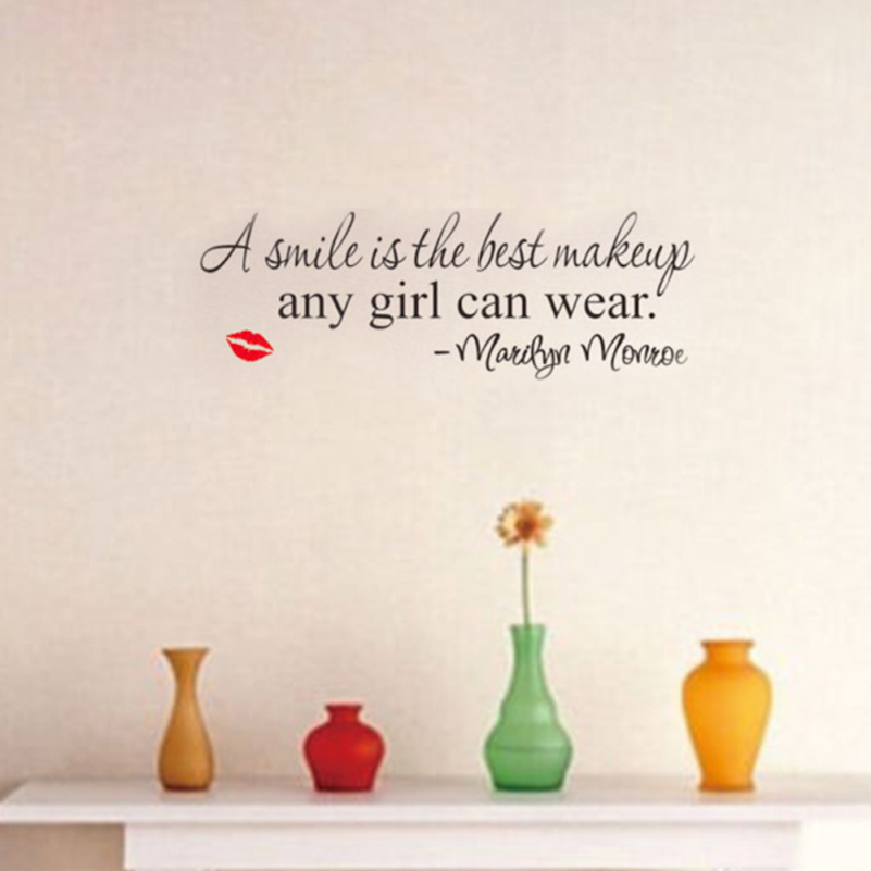 A SMILE IS THE BEST MAKEUP Quote Wall Sticker Home Decor Wall Stickers Sex Lips Wallpaper for Living Room DIY Art Vinyl Posters(China (Mainland))